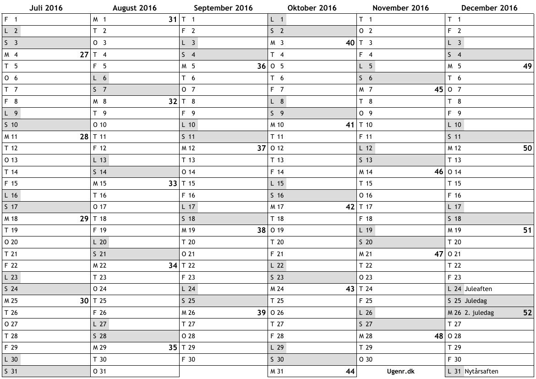 Almanacka Veckonr 2016 | Calendar Template 2016