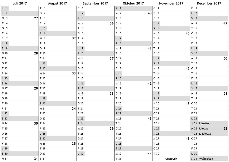 Kalender 2017, 2 halvår